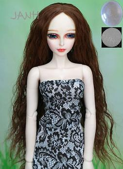 1/3 8-9 BJD Doll Wig Brown Curly Long Wave Hair Luts DZ DOD