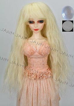 """8-9"""" 1/3 BJD HUAL  Blonde Curly Wave Long Wig LUTS Doll SD D"""