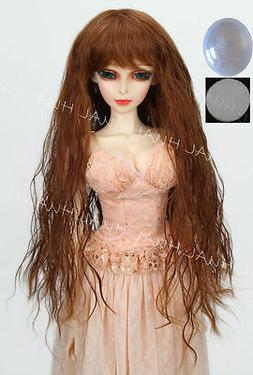 """8-9"""" 1/3 BJD HUAL Brown Curly Wave Long Wig LUTS Doll SD DZ"""