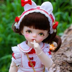 New Red Wave point Dress clothes Hair shoes For 1/6 BJD Doll