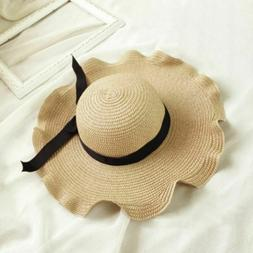 Women Big Wide Wave Brim Bowknot Straw Hats Casual Summer Be