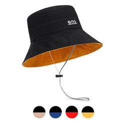 Women Reversible Bucket Hats Wave Selvedge One Embroidery Ou